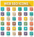 Flat website seo icons colorful version on white background Royalty Free Stock Images