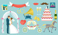 Flat Wedding Icon Set Royalty Free Stock Photo
