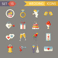 Flat wedding symbols bride groom marriage design and accessories icons set trendy modern design template vector illustration Royalty Free Stock Photography