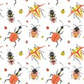 Flat Weird Bugs and Unusual Beetles Pattern Royalty Free Stock Photo
