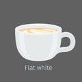 Flat White Coffee with Latte Art on Foam Vector