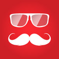 Flat white hipster glasses and mustache Royalty Free Stock Photo