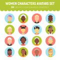 Flat women and girls character avatars collection