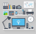Flat work space with long shadow Royalty Free Stock Photo