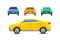 Flat yellow car vehicle type design style vector generic classic business illustration isolated.