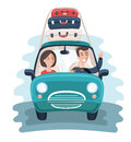 Flat Young Travelers. Car with a Lot of Bags on the Background. Colorful Vector Illustration
