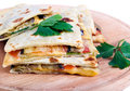 Flatbread with cheese tomato and eggplant Stock Photo