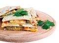 Flatbread with cheese tomato and eggplant on white background Stock Image