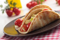 Flatbread with vegetables and cheese Royalty Free Stock Photo