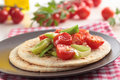 Flatbread with vegetables and cheese Royalty Free Stock Images