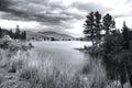 Flathead river montana scenic landscape in black and white Stock Photos