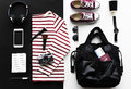Flatlay of outfit for travel