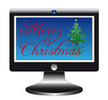 Flatscreen with christmas slogan Stock Image