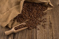 Flavor of coffee and wooden background