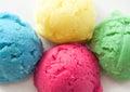 Flavored ice cream scoops different yogurt Royalty Free Stock Photo