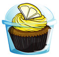 A flavorful cupcake inside a covered cup illustration of on white background Stock Photos