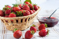 Flavorful strawberries and jam in a bowl Royalty Free Stock Photo