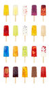 20 Flavors of Popsicles or Ice Lollies on White Royalty Free Stock Photo