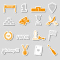 Flawless victory symbols set of color stickers eps Stock Image