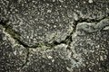 Flaws and defects give to weakness shown by cracked pavement. Imperfections and rough asphalt. rock