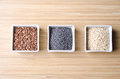 Flax, poppy and sesame seeds Stock Image