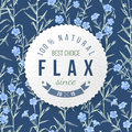 Flax round label with type design