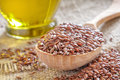 Flax seeds and linseed oil Royalty Free Stock Photo