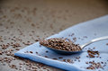 Flax seeds in a spoon on a blue towel and linen background Royalty Free Stock Images