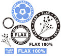 Flax set isolated objects on white background vector illustration eps Stock Photography