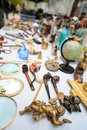 Flea market close up details of stall in bruges belgium Royalty Free Stock Photography