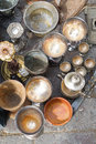 Flea market jugs silverware and pots Royalty Free Stock Photography