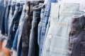 Flea market sale jeans Royalty Free Stock Photo