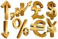 Flecha euro de oro de los Yenes de la libra del dólar Fotografía de archivo