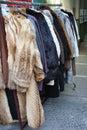 Flee Market - fur coats Royalty Free Stock Photo