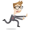 Fleeing businessman vector illustration of a scared looking cartoon looking back and in panic Royalty Free Stock Photography