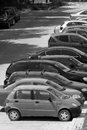 Fleet of cars a long line outdoors Stock Photography