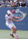 Flessinga ny agosto pratiche di andy roddick del campione del grande slam per l us open louis armstrong stadium re national tennis Immagine Stock