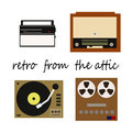 Flete retro illustration receiver recorder player with vinyl records and radiogram vector Stock Images