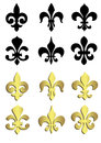 Fleur de lis in black and gold Stock Photo
