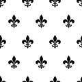 Fleur-de-lis black and white seamless pattern. Vector illustration.