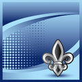 Fleur de lis on blue halftone banner Stock Images