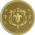 stock image of  Fleur de lis Coat of Arms Gold Medal Retro