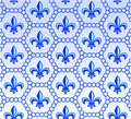Fleur de lis design collection blue seamless icon set Stock Image