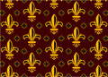 Fleur de lis design collection golden on brown background wallpaper Stock Photography