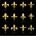 Fleur de lis design collection golden icon set Stock Images