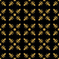 Fleur de lis in diagonal arrangement with dot in the middle. Abstract retro geometrical seamless pattern. Gold vector Royalty Free Stock Photo