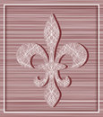 Fleur de lis on stripey background with minimalistic frame illustration Stock Photography