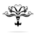 Fleur-de-lis symbol in stylized ornate vector design with curls and swirls