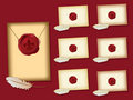 Fleur de lis wax seal envelopes Stock Photography