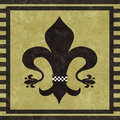 Fleur de lys black on a textured taupe background in a black stripe border Royalty Free Stock Photos